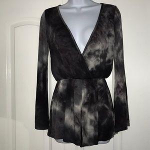 New Tie dye black grey white elastic waist romper